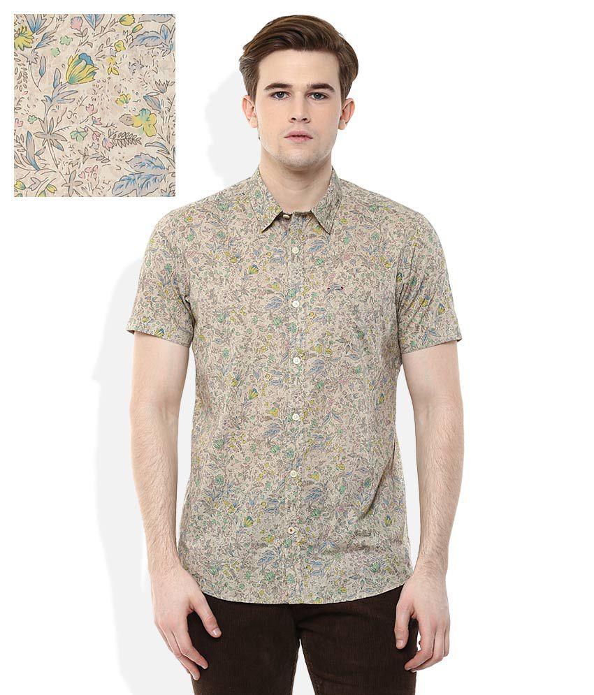 Lee Cooper Beige Solid Slim Fit Casual Shirt