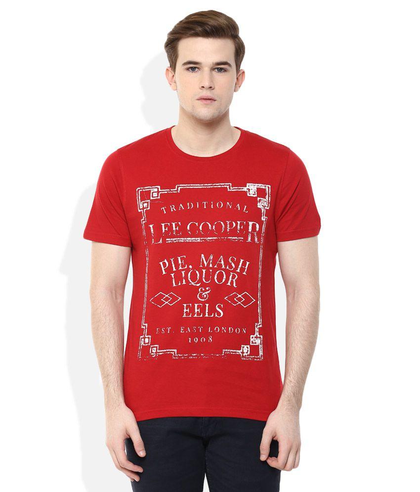 Lee Cooper Red Printed Regular Fit T-Shirt