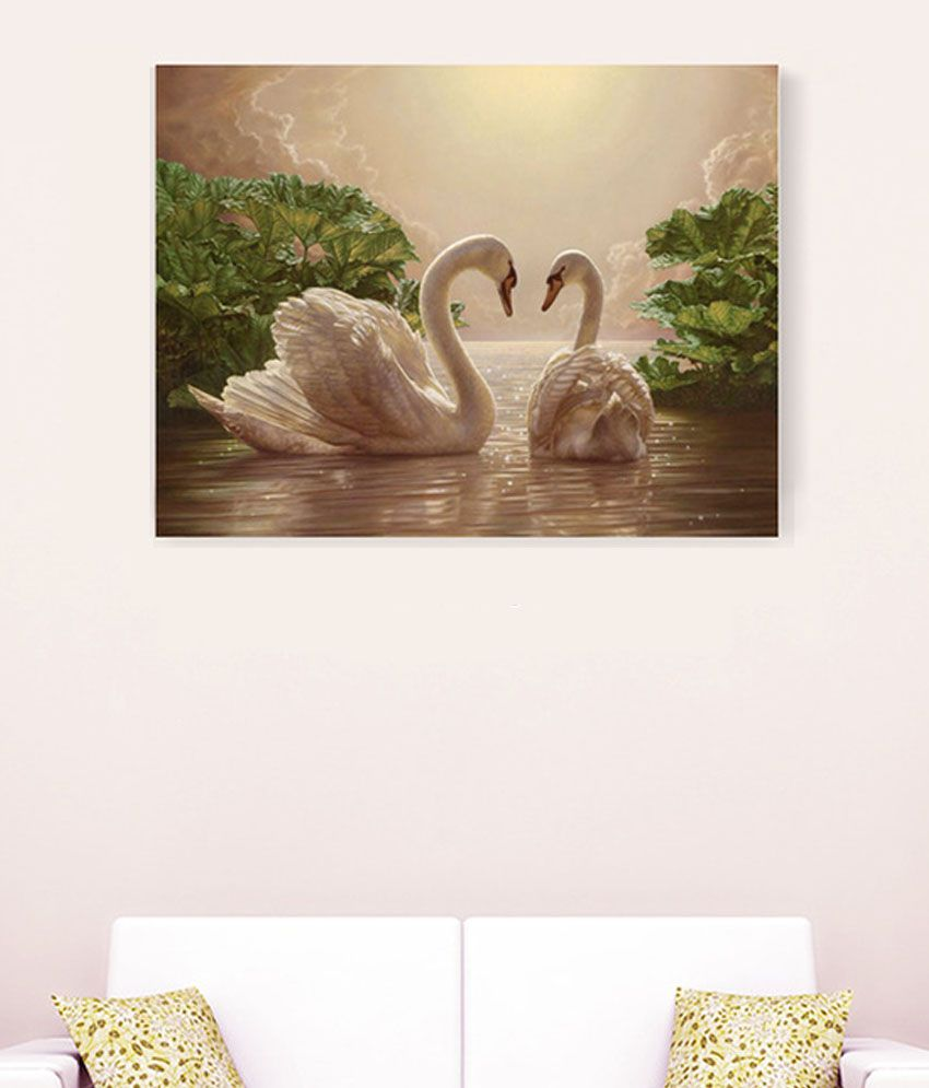 Sky Trends White Swan In River Romance Attractive Floral Canvas Painting