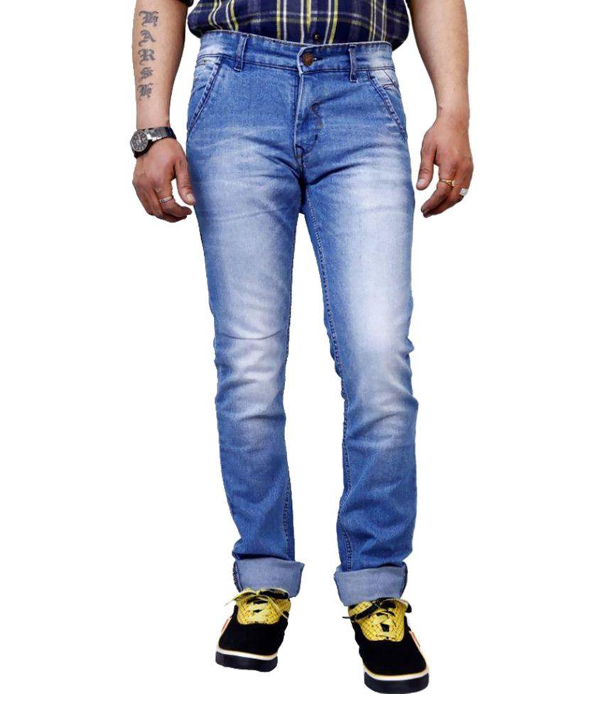 SuperX Blue Slim Fit Faded Jeans