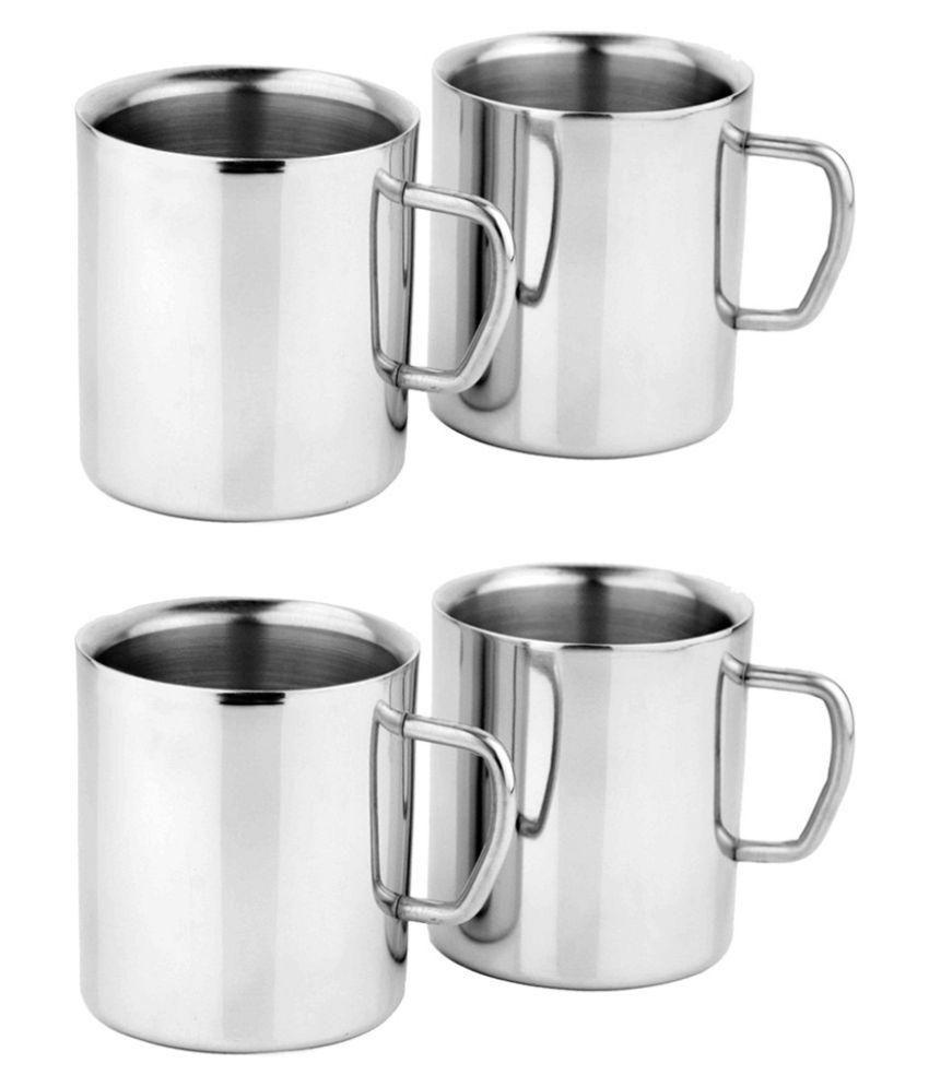 Navisha Stainless Steel Coffee Mug 4 Pcs 400 Ml