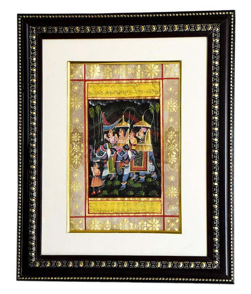 JS Jalwal Mughal Safari Paper Hand Paintings With Frame Single Piece