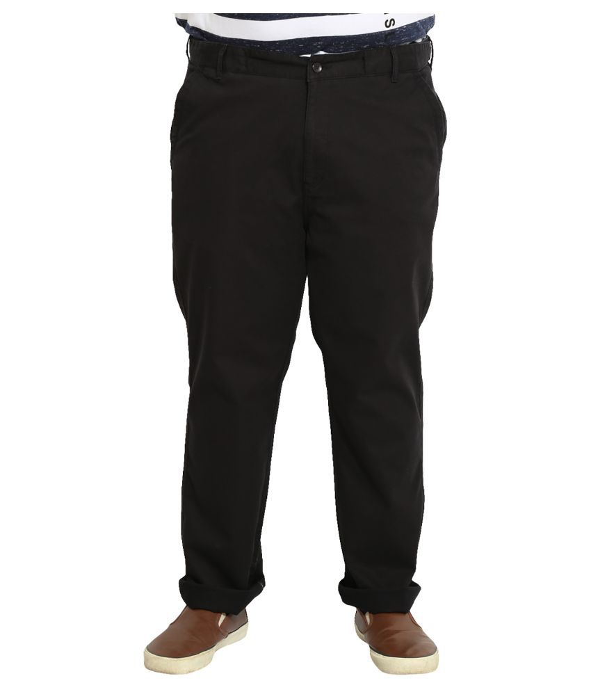 John Pride Black Regular Fit Flat Trousers