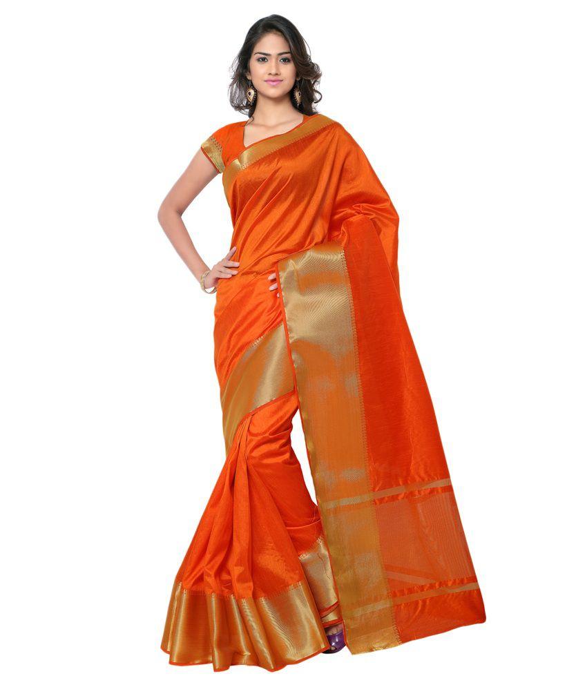 Minaxi Orange Silk Saree