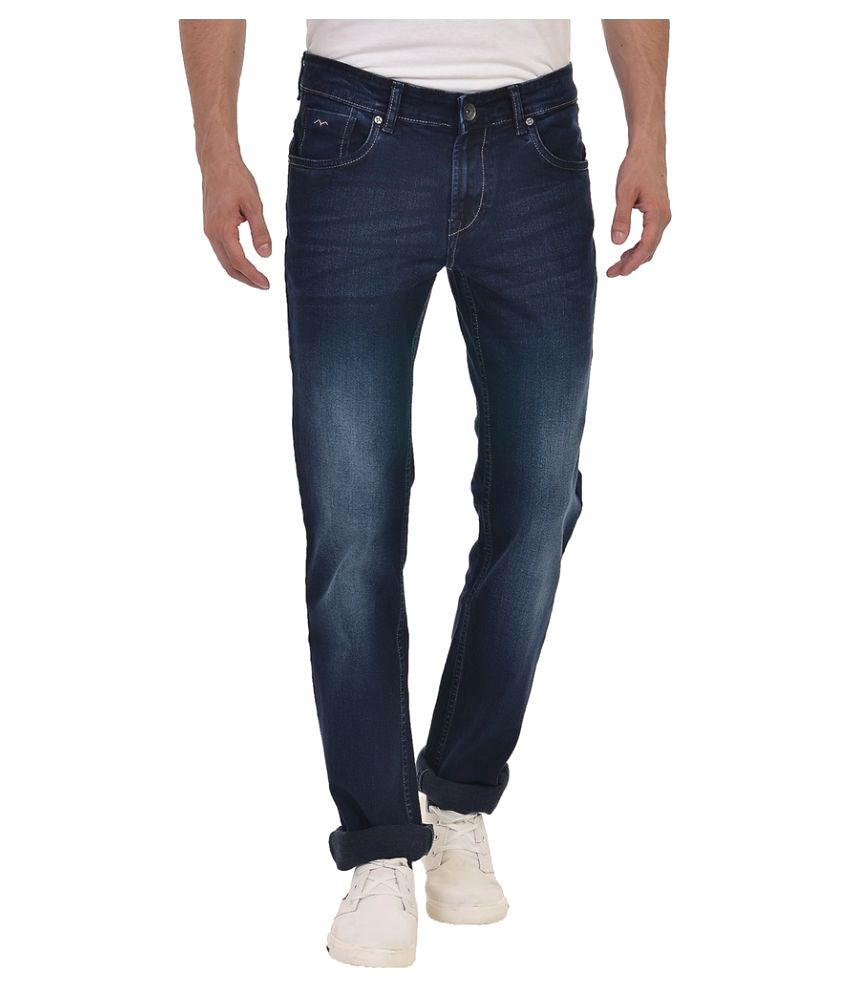 Wert Jeans Navy Regular Fit Faded Jeans