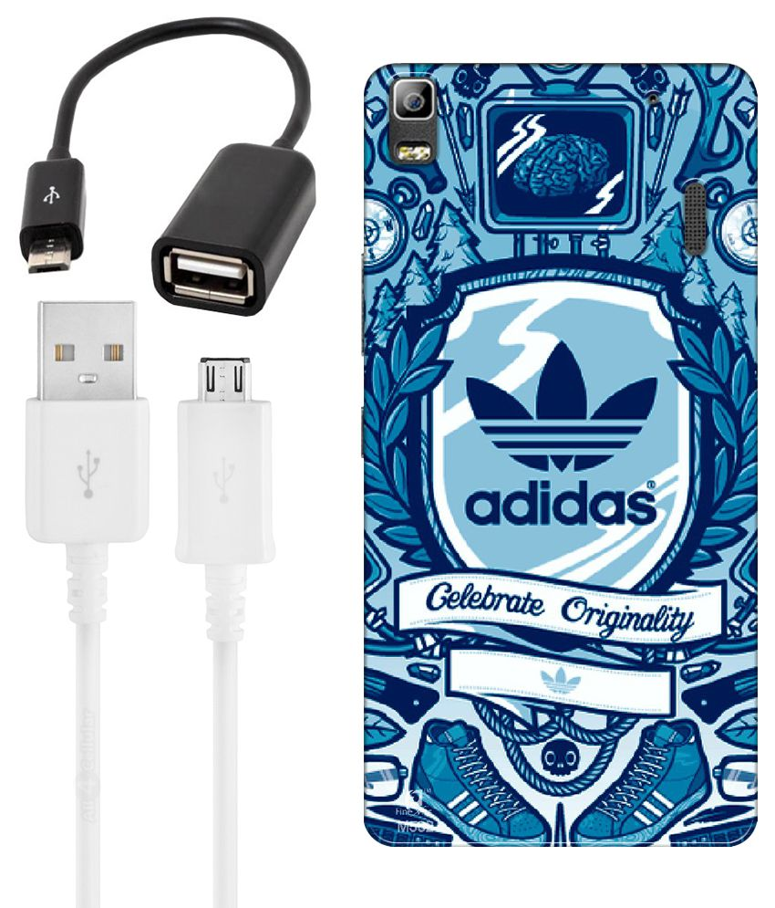 FineArts Combo of Adidas wallpaper Printed Mobile Back Cover, Charging Cable and OTG Cable For Lenovo A7000