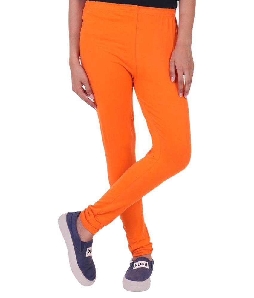 FashGlam Cotton Ankle Length Leggings - Orange