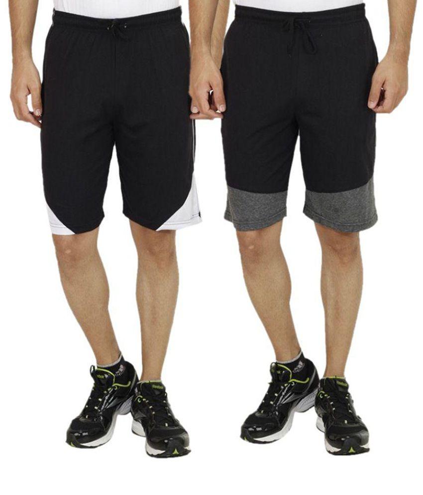 Sanvi Traders Black Shorts Pack of 2
