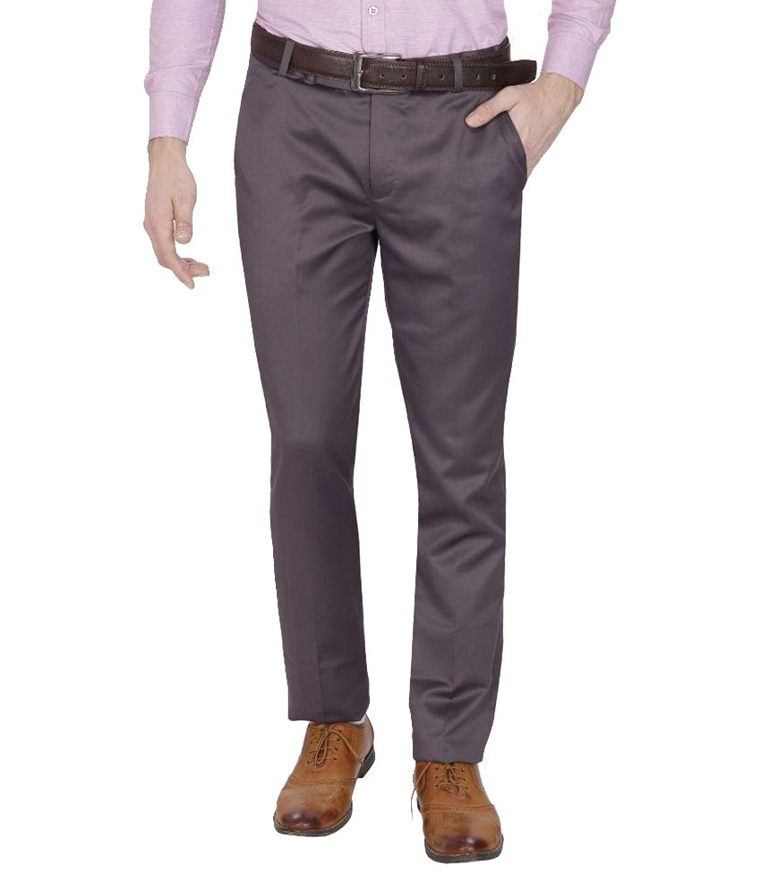Frankline Grey Regular Fit Flat Trousers