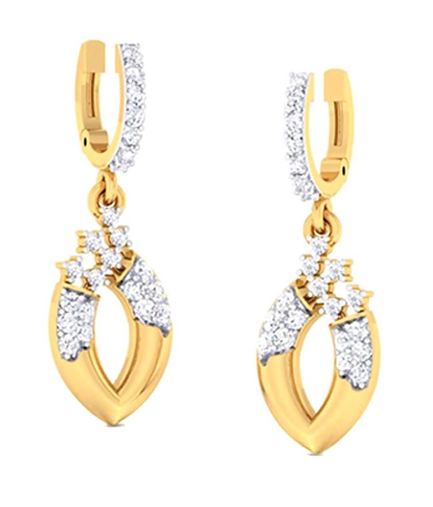 Amantran Jewels 14Kt BIS Hallmarked Gold Diamond Drops