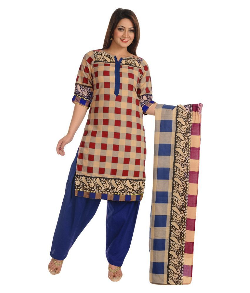 Salwar Studio Multicoloured Cotton Straight Fit Salwar Suit