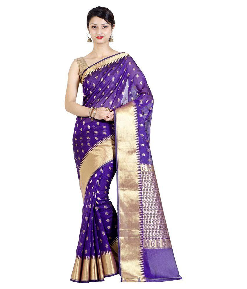 Chandrakala Purple Cotton Silk Saree