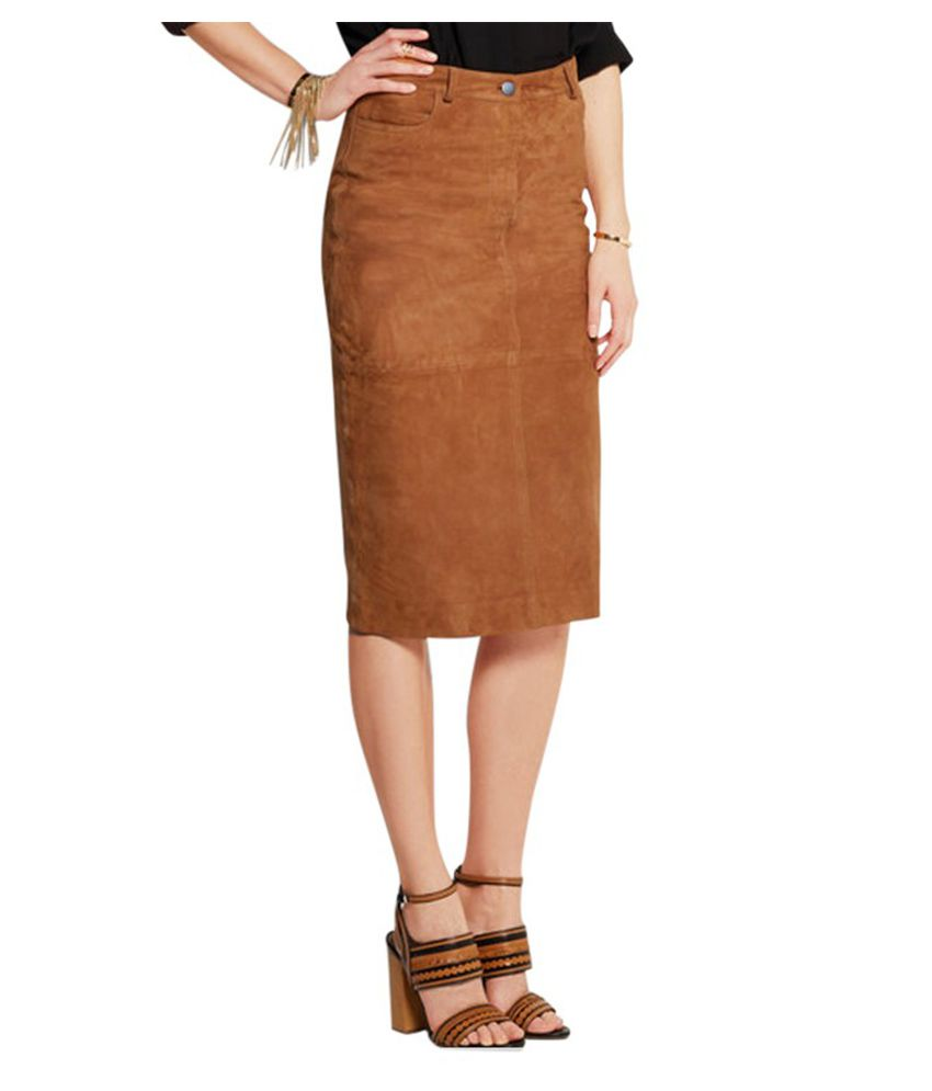 1e7e1dd4b902 Buy Lurap Brown Suede Pencil Skirt Online at Best Prices in India - Snapdeal