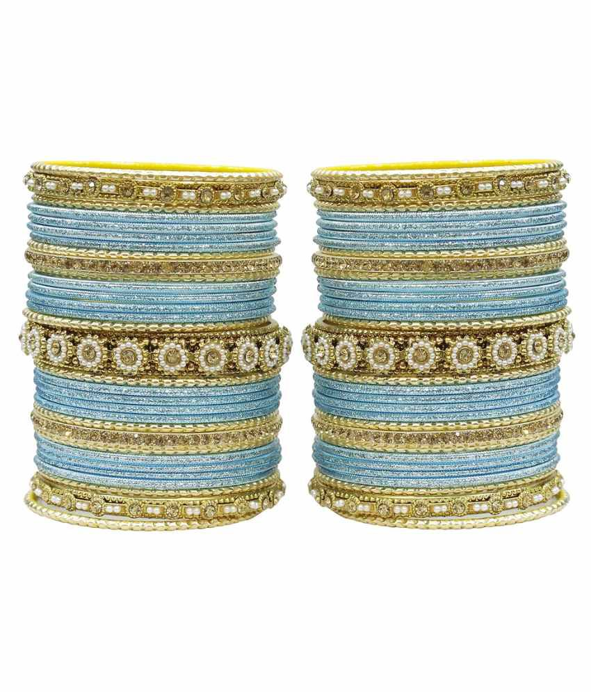 Much More Blue Alloy Bangle Set