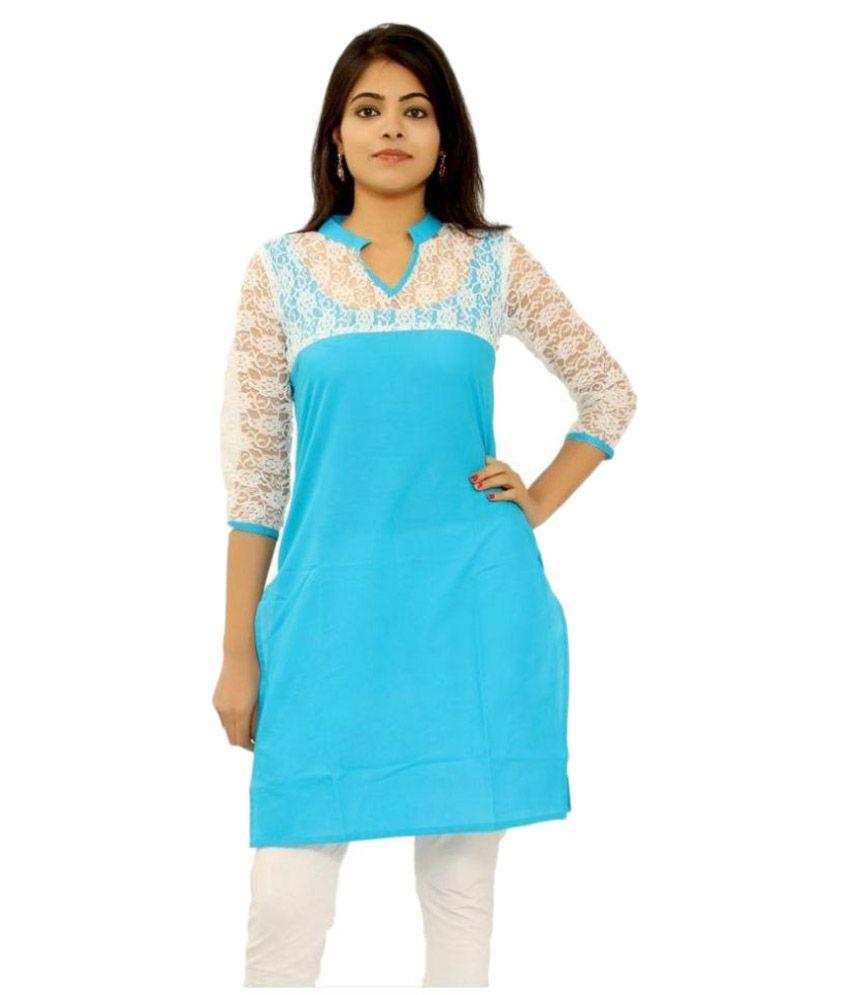 Newlook Impex Blue Cotton Straight Kurti