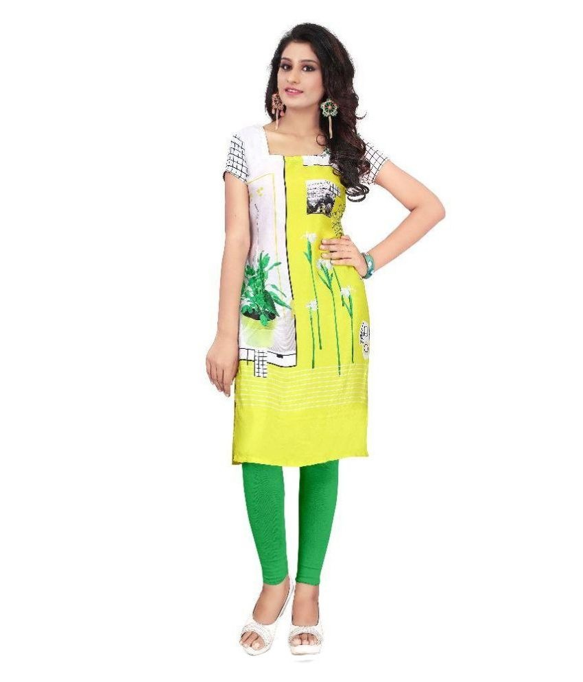 Pushty Fashion Yellow Crepe Straight Kurti