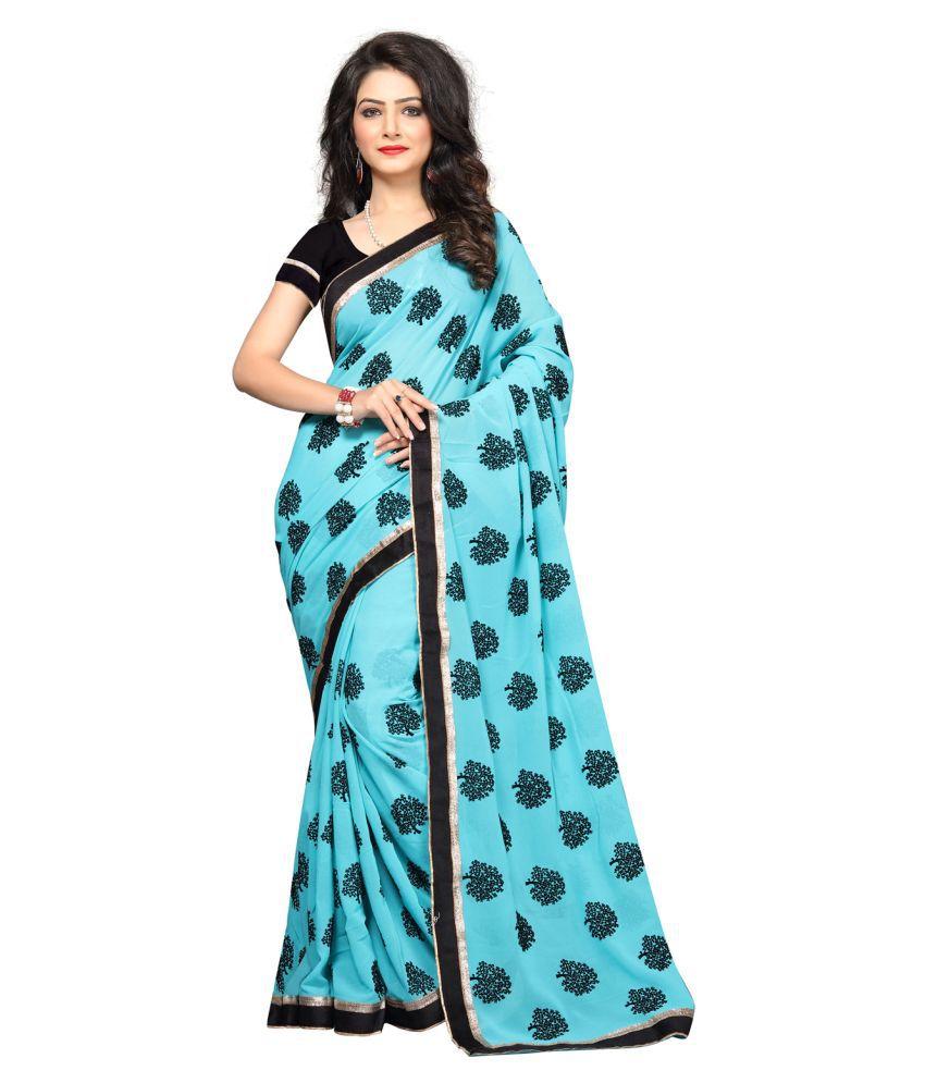 SareeShop Designer SareeS Sky blue Chiffon Saree