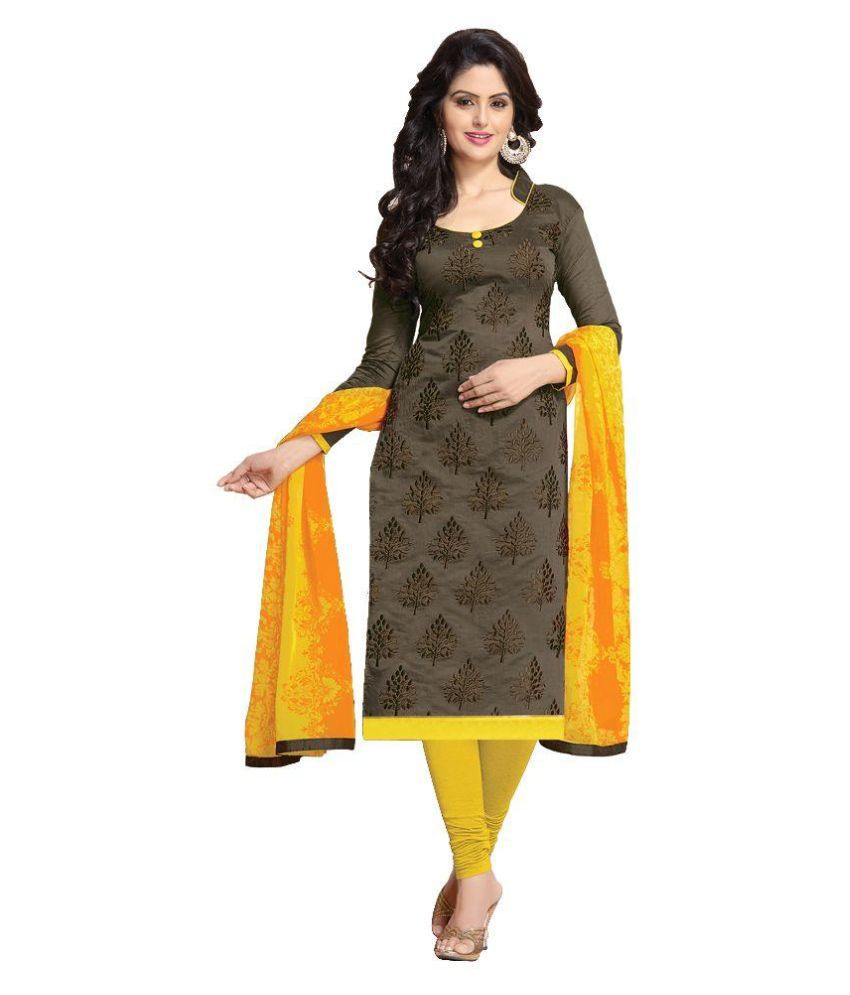 Lovely Fashion Grey Chanderi Straight Unstitched Dress Material