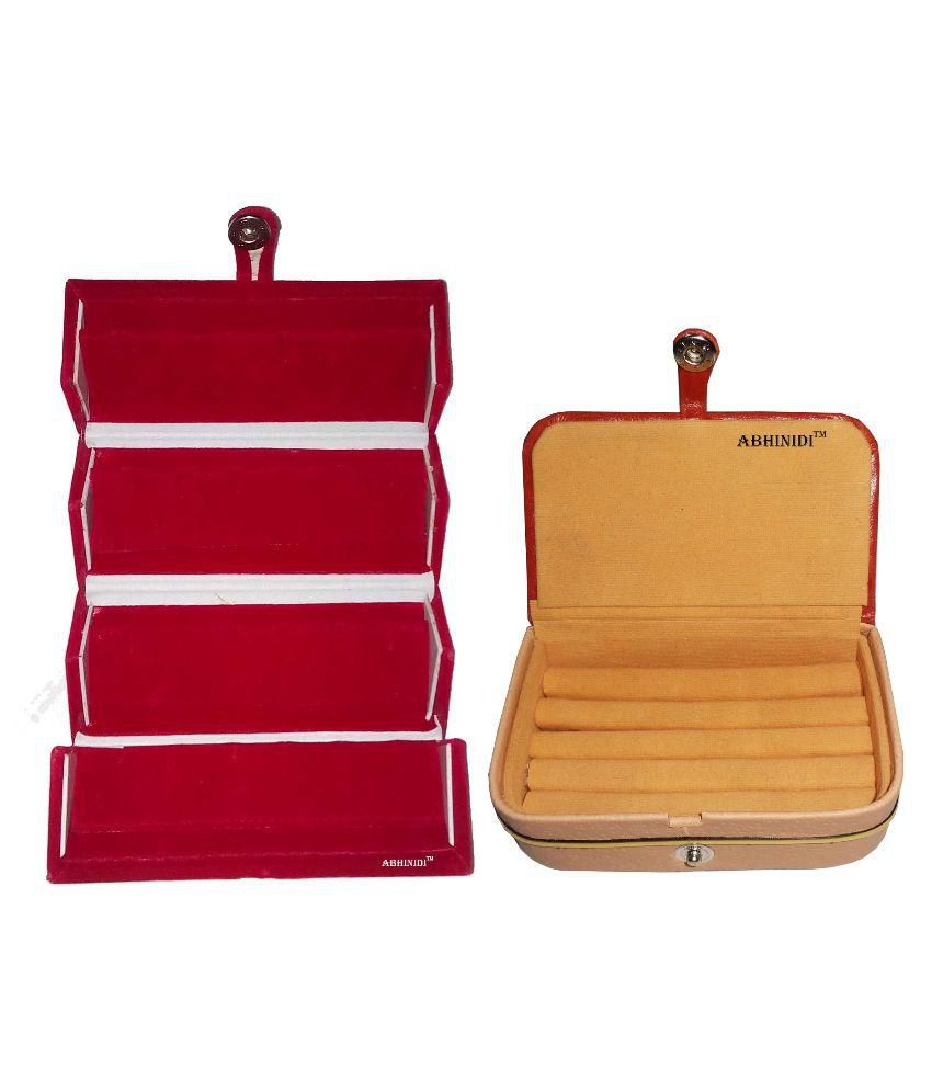 Abhinidi Red Wooden Combo Earring Folder and Leather Ring Box Jewellery Box