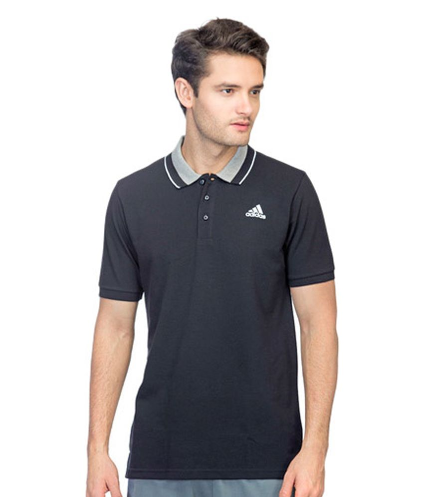 Adidas Black Men's Training Essential Polo Shirts