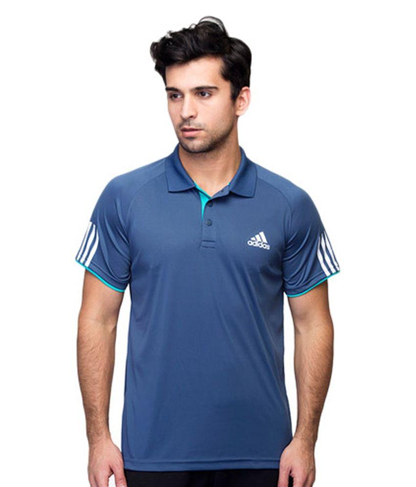 Adidas Blue Men's Polyester T-shirt