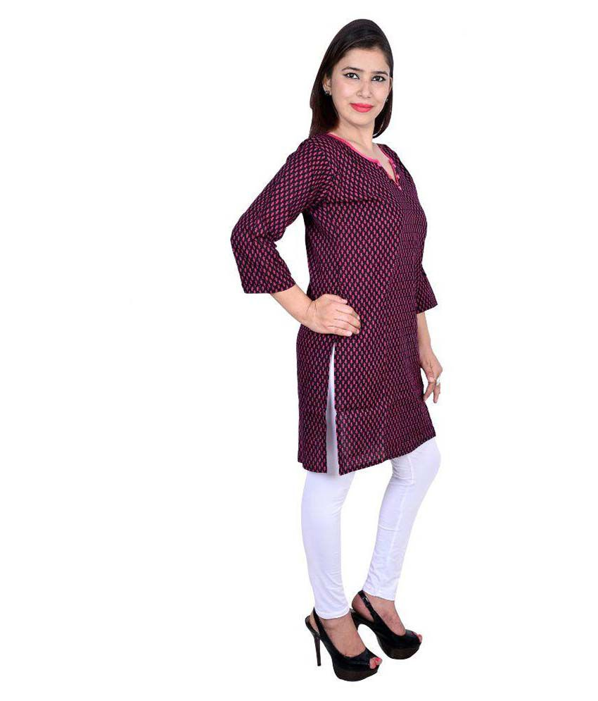 Decot Paradise Purple Cotton Straight Kurti