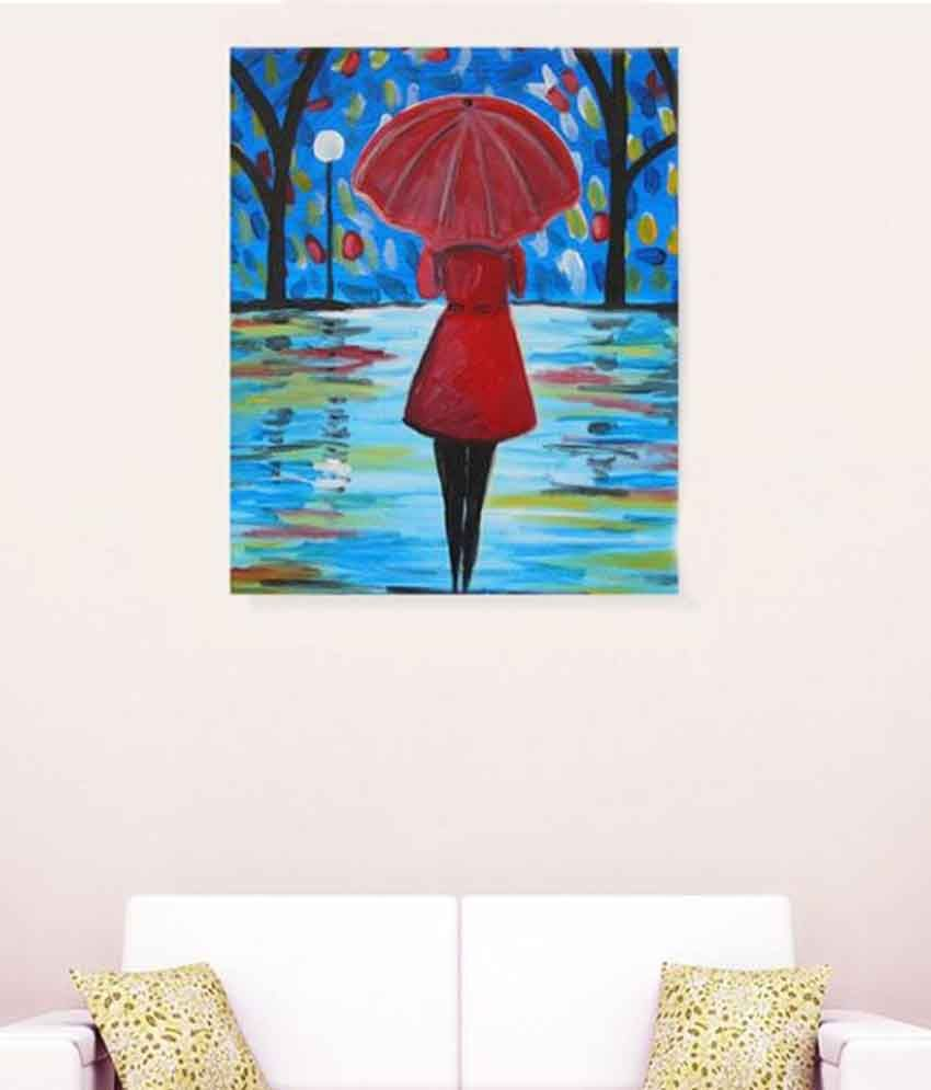 Alone girl in rain romantic canvas painting buy alone girl in rain romantic canvas painting at best price in india on snapdeal