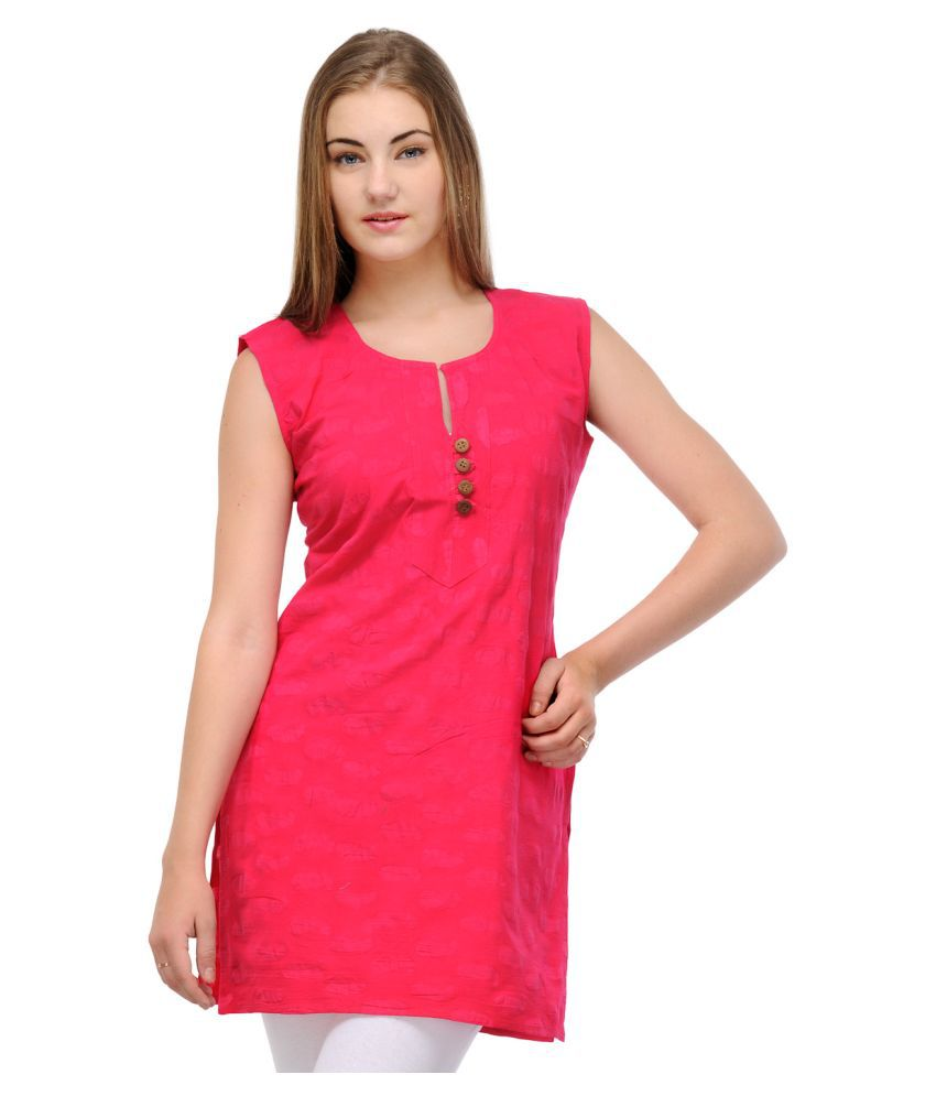 Caitlin Pink Cotton Straight Kurti