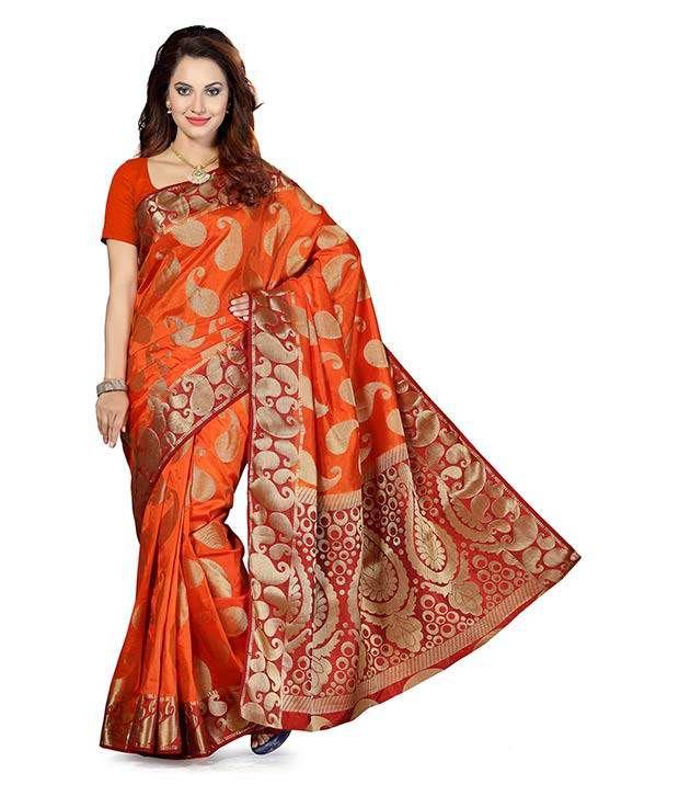 Ishin Red and Orange Art Silk Saree