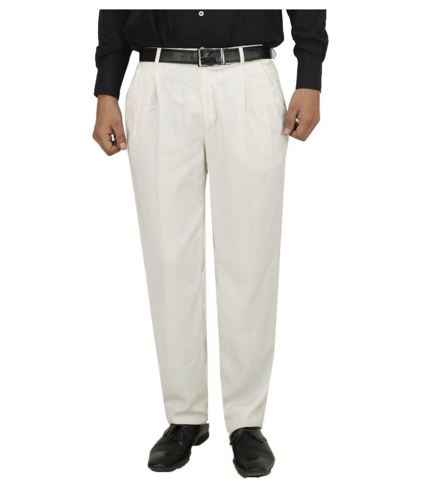 Koutons Outlaw White Regular Fit Pleated Trousers