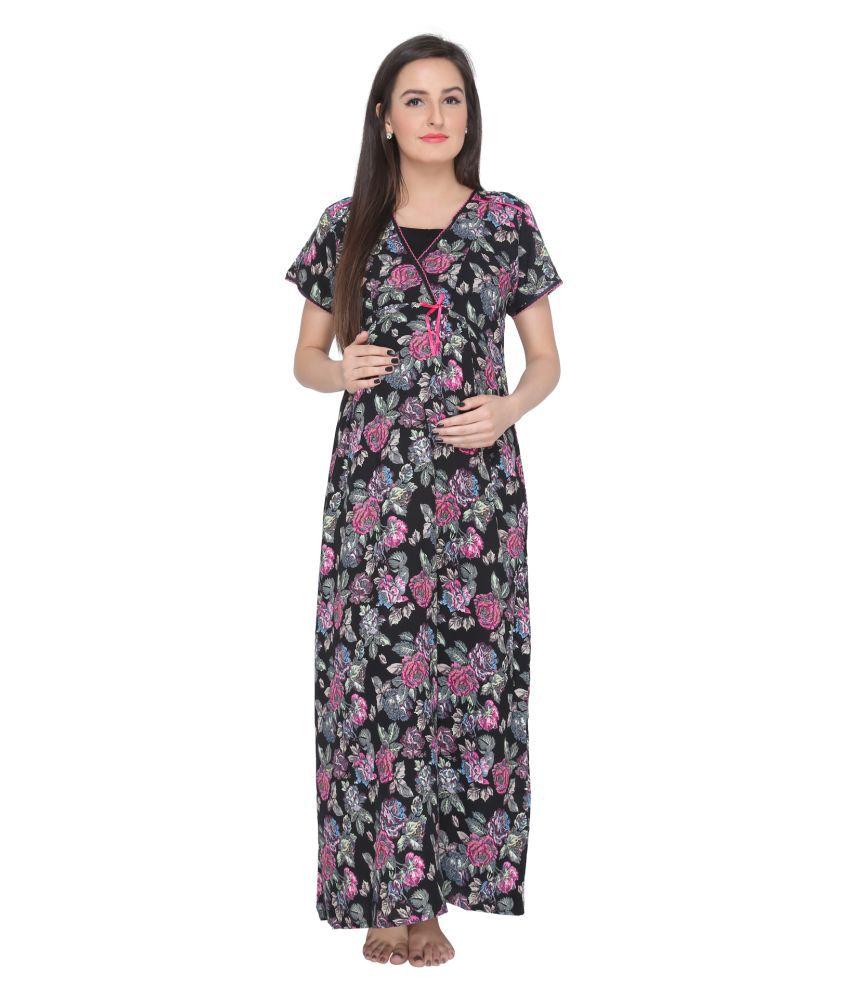 Valentine Black Cotton Nighty & Night Gowns