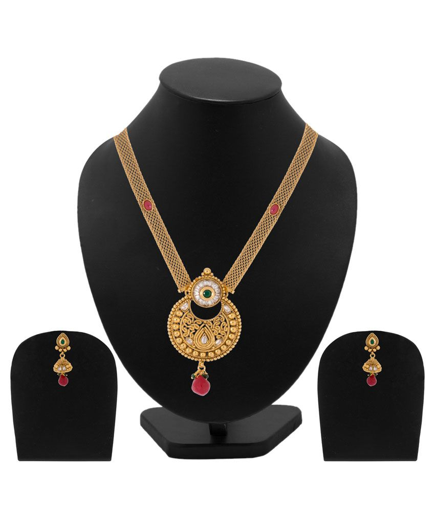 Voylla Golden Alloy Kundan Necklace Set