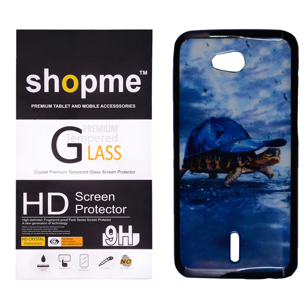 Shopme Printed Back cover with Tempered Glass for Infocus Bingo 21