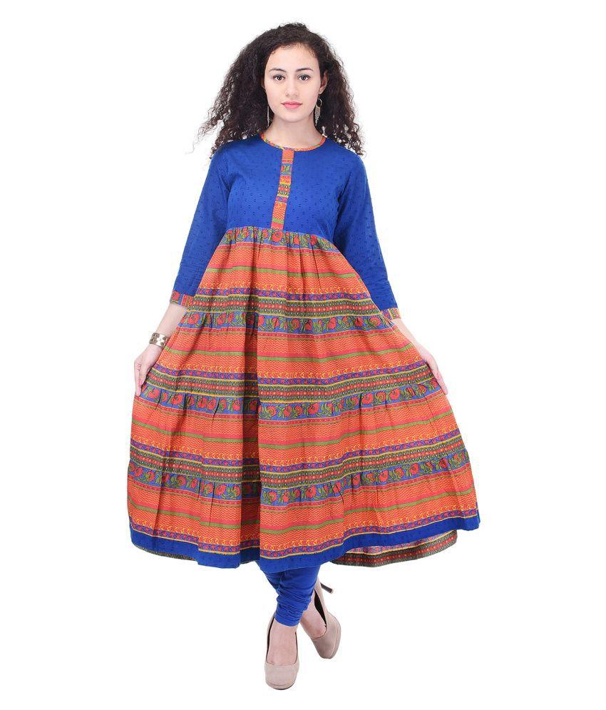 Ayan Multicoloured Cotton Anarkali Kurti