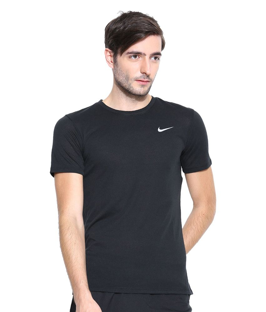 Nike Black Dri-FIT Cool Tailwind SS Running T-Shirt for Men
