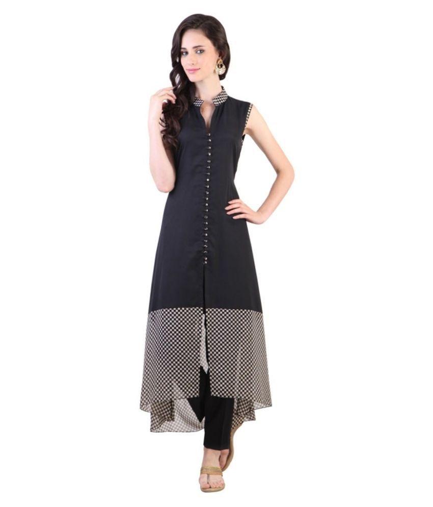 Fashion Forever Black Georgette Asymmetrical Hemline Kurti