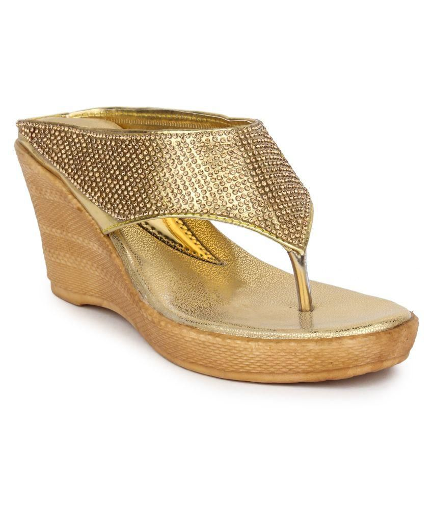 545742f12a Star Style Gold Wedges Heels Price in India- Buy Star Style Gold Wedges  Heels Online at Snapdeal