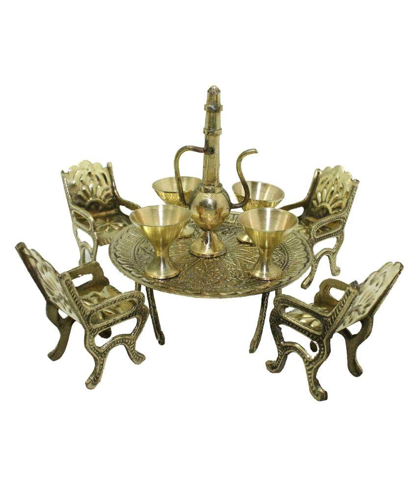 Bhavika Brass Mini Table Chair Set Showpiece