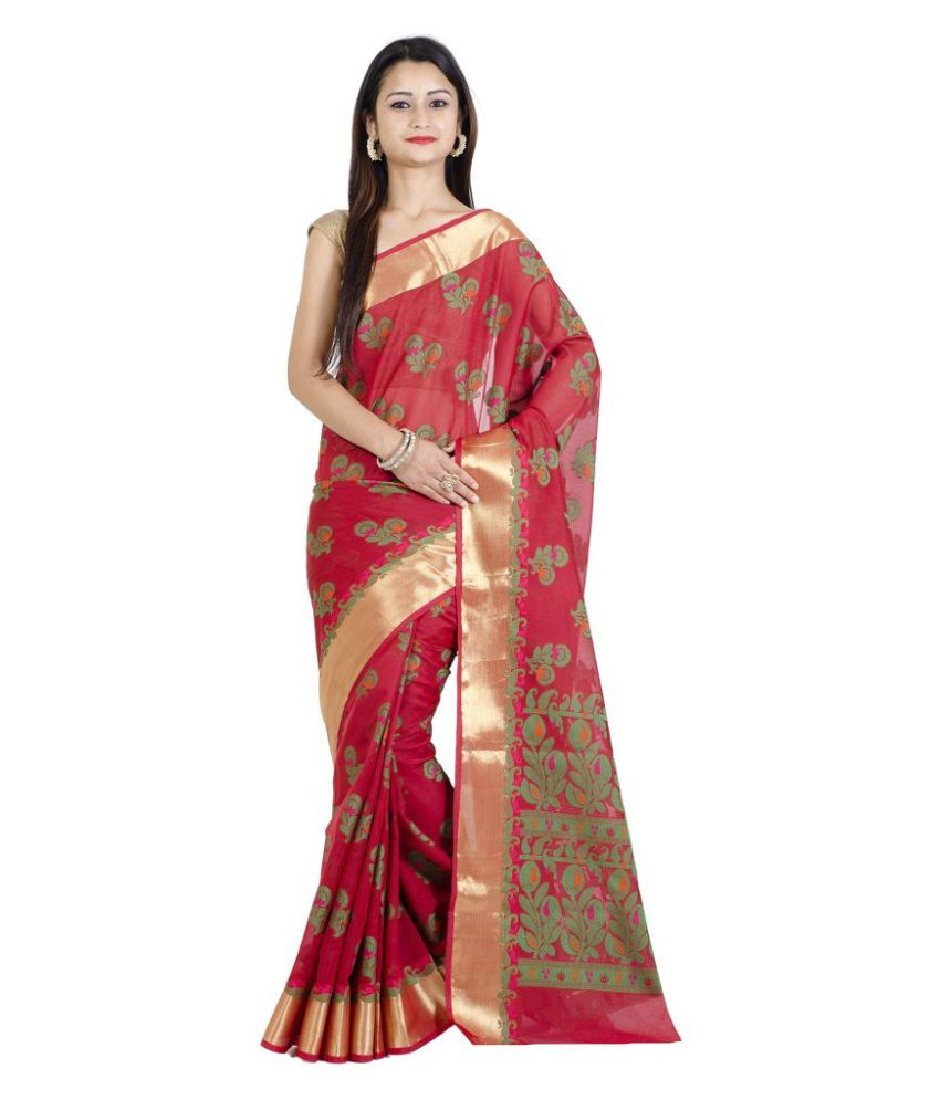 Chandrakala Red Cotton Silk Saree