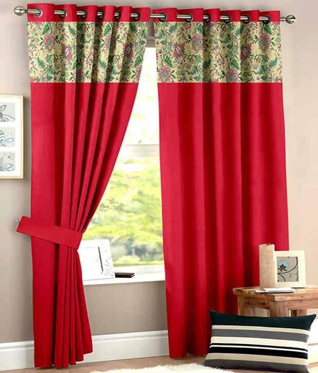 HOMEC Set of 2 Long Door Eyelet Curtain Floral Multi Color