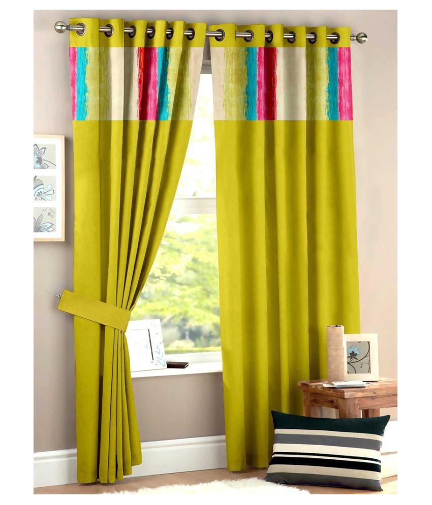 Homec Set of 2 Door Eyelet Curtain Solid Yellow
