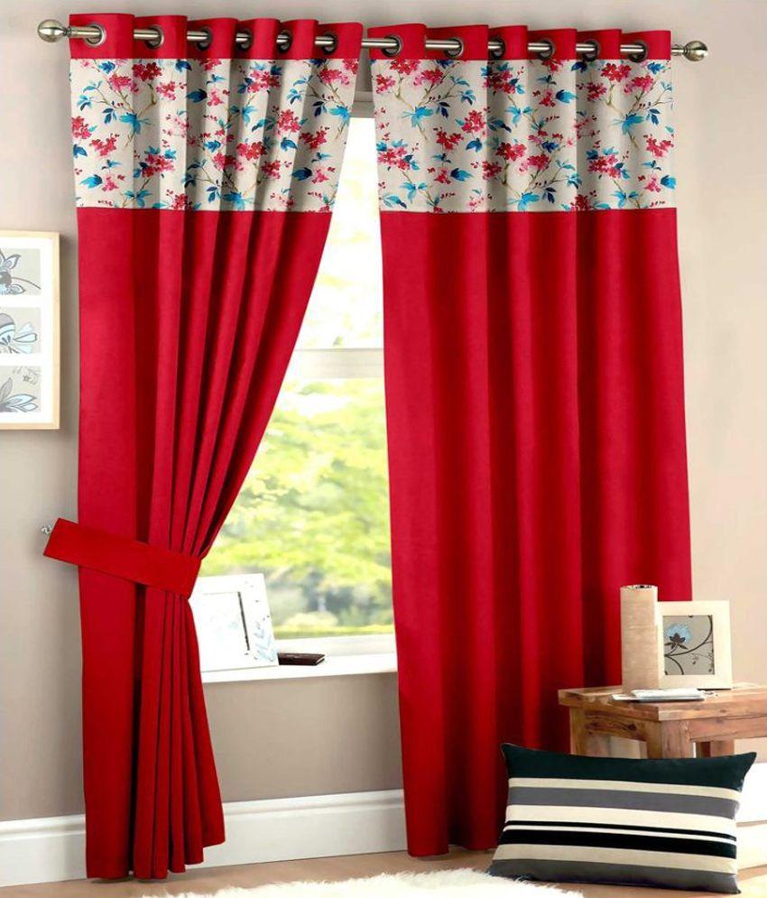 Homec Set of 2 Long Door Eyelet Curtain Floral Red