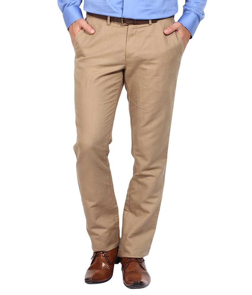 BLACKBERRYS Beige Regular Fit Formal Trousers