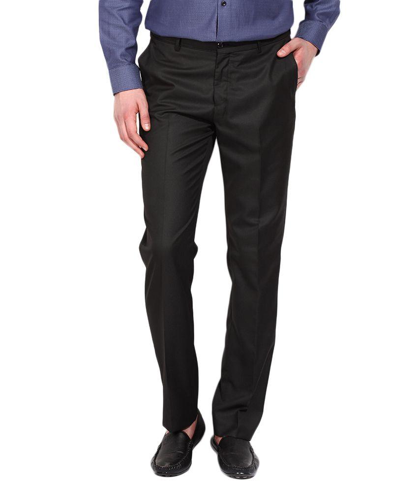 BLACKBERRYS Black Regular Fit Casual Trousers