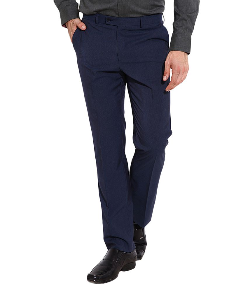 BLACKBERRYS Blue Slim Fit Formal Trousers
