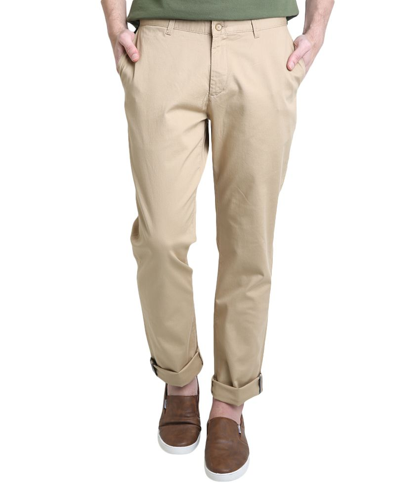 BLACKBERRYS Khaki Regular Fit Formal Trousers