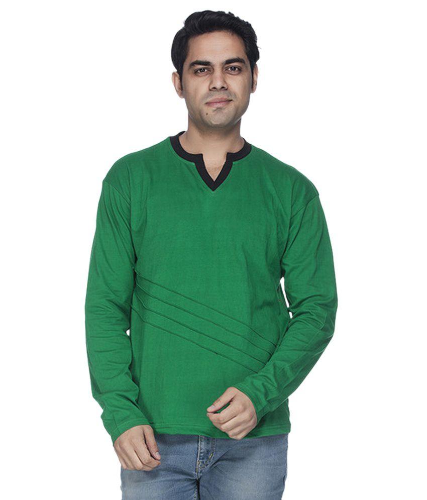 Demokrazy Green V-Neck T-Shirt
