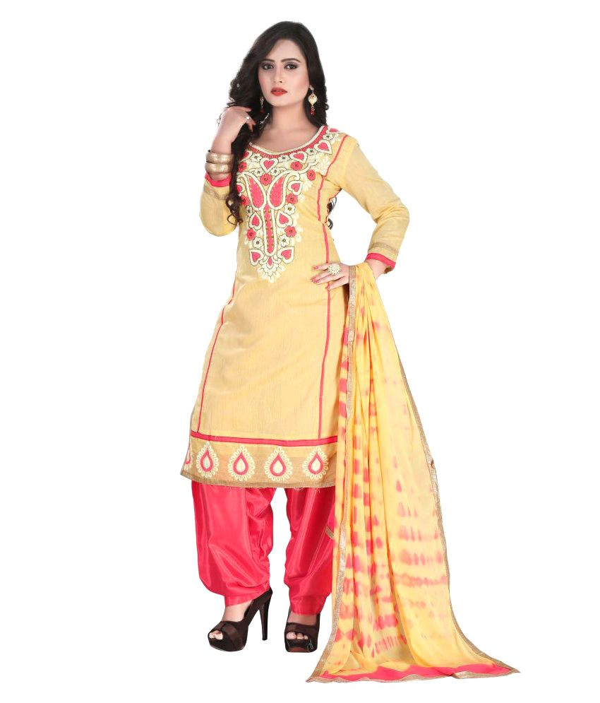 Dipuben Mangukiya Cream Chanderi Straight Unstitched Dress Material