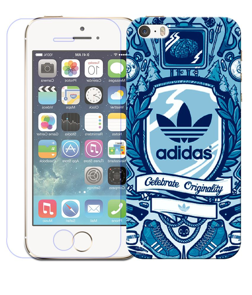 sports shoes a1fd0 66480 FineArts Combo of Adidas wallpaper Printed Back Cover and Screen Guard For  Apple iPhone 5S