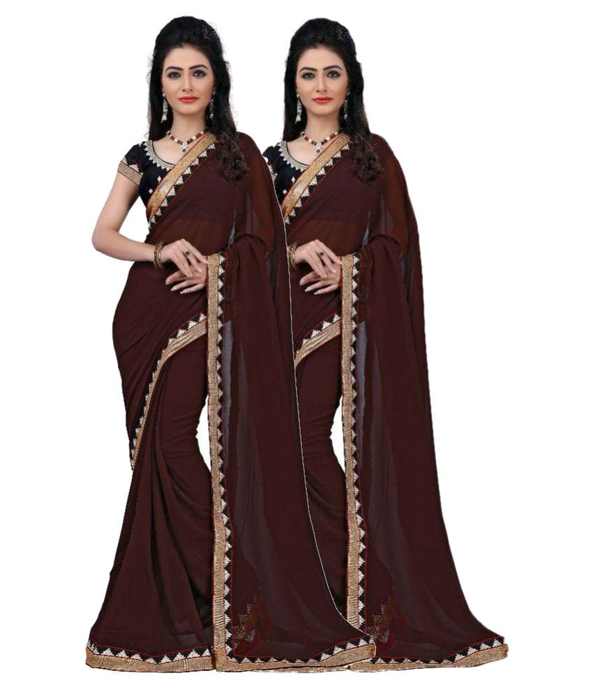 Appyfashion Brown Chiffon Saree Combos
